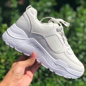 White Chunky platform Snake/Crocodile Dad Sneakers
